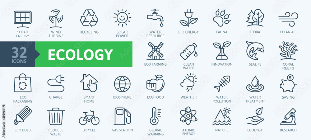 Fototapeta Ecology minimal thin line web icon set. Outline icons collection. Simple vector illustration