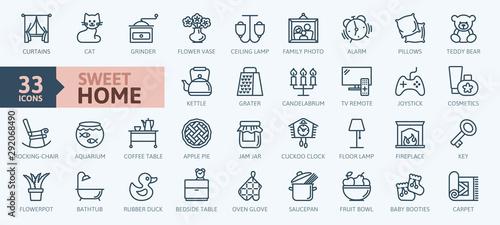 Obraz na plátně  Home, sweet home - minimal thin line web icon set
