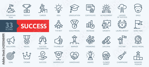Sussess, awards, achievment elements - minimal thin line web icon set. Outline icons collection. Simple vector illustration. - 292068491