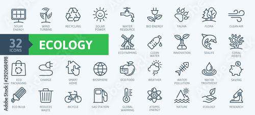 Obraz Ecology minimal thin line web icon set. Outline icons collection. Simple vector illustration - fototapety do salonu