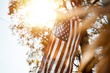 Low nalge shot of united states flag with a blurred background on a sunny day