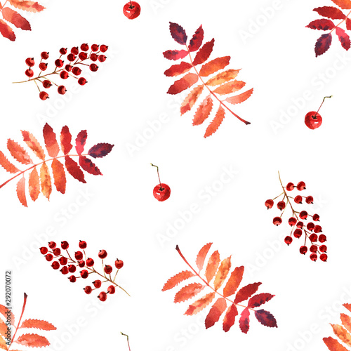 Watercolor autumn seamless pattern with leaves and apples isolated on a white ba Wallpaper Mural