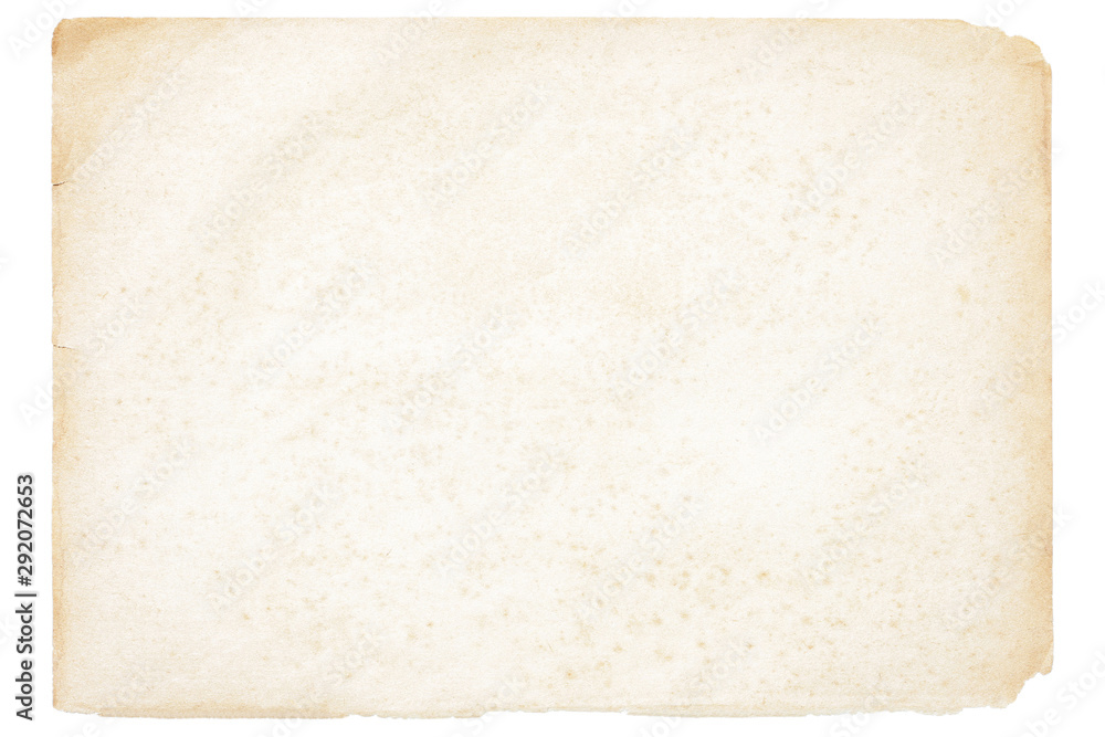 Fototapeta Isolated old brown worn out ripped yellow background paper texture with stain