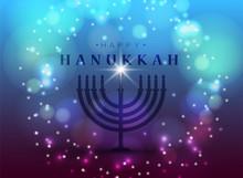Vector Illustration. Happy Hanukkah Typography Vector Design For Greeting Cards And Poster Design Template Celebration. . Beautiful Hanukkah Background, Blurred Festive Lights.