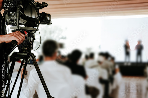 video production camera recording live event on stage Canvas Print
