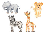 Fototapeta Fototapety na ścianę do pokoju dziecięcego - Cute cartoon African animals. Elephant, zebra, giraffe, lion