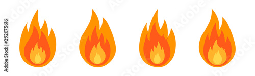 Obraz Fire flame icon set in flat. Fire color symbols. - fototapety do salonu