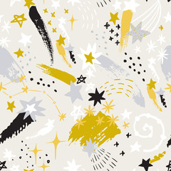 Colorful starry sky background: shooting stars, constellations, galaxy, milky way in scandinavian style.