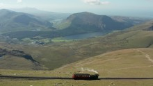 Steam Railway Train High In The Mountains With Lake Background