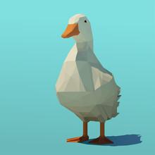 Vector Polygonal Duck Standing...