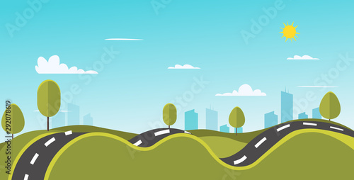 Fototapeta Nature landscape with road and town vector illustration