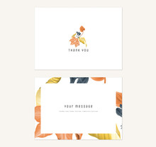 Floral Thank You Card Template Design, Flowers Bouquet In Orange, Yellow And Blue Tones On White