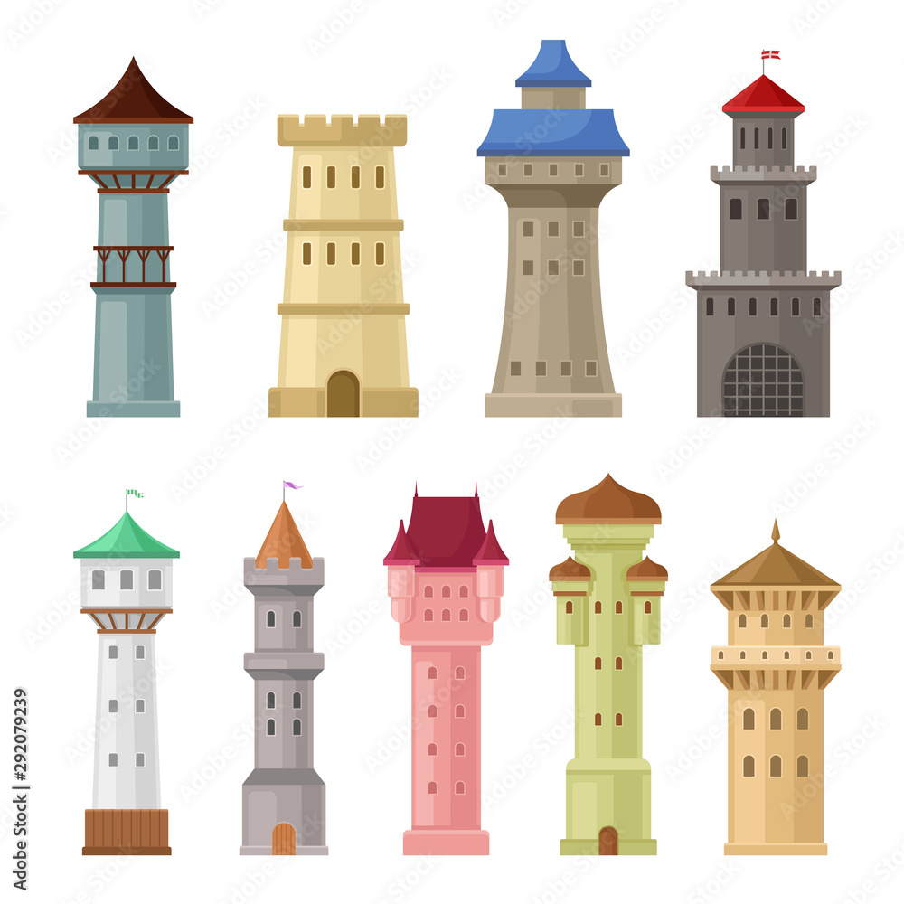 Fototapeta Set of old castle towers. Vector illustration on a white background.