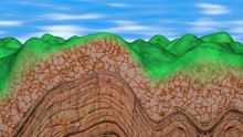 Mountains Forming , Geological Layers Of Earth , Stone And Rocks.  High Mountain Peaks .3d Rendering Art Concept .