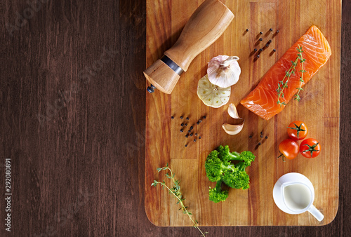 Photo Set of Healthy anticancer food on wooden table