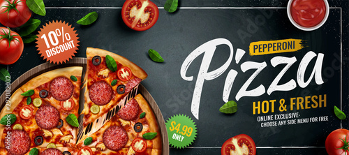 Fototapeta  Pepperoni pizza banner ads