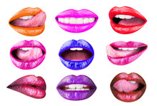Set Of Womens Lips With Glossy Lipsticks. Multicolored Lip, Tongue Sexy. Colored Lip, Lipstick Or Lipgloss, Sexy. Collection Open Mouth. Bright Female Lips Collection Isolated On White Background