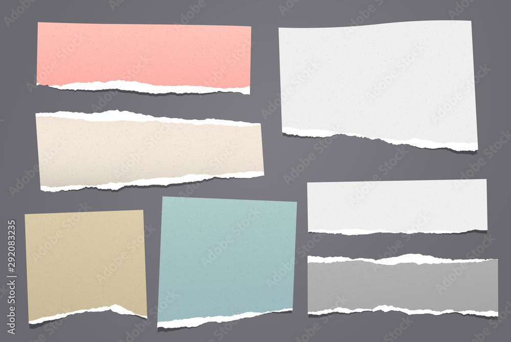 Fototapety, obrazy: Torn white and colorful note, notebook paper pieces stuck on dark grey background. Vector illustration
