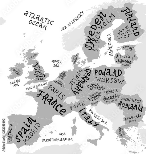 Fototapeta Map of Europe with hand drawn lettering