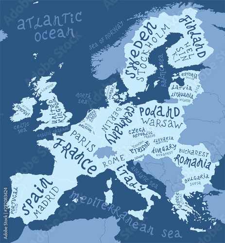 Fotografie, Obraz Map of Europe with hand drawn lettering