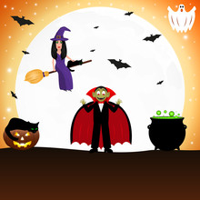 Witch With A Cat On A Broomstick For Halloween Against The Background Of The Moon With Bats.