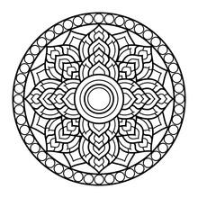 Line Draw Dharma Wheel In Budd...