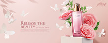 Pink Cosmetic Ads With Paper R...