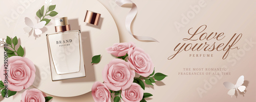Fototapeta Flat lay perfume ads obraz