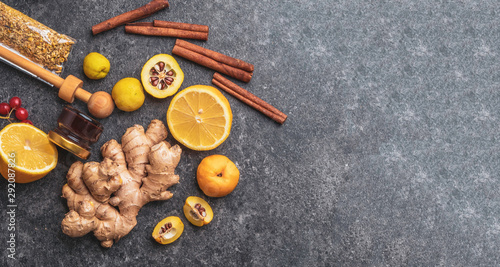 Banner of healthy ingredients lemon, cinnamon, ginger, cydonia, honey, berries c Wallpaper Mural