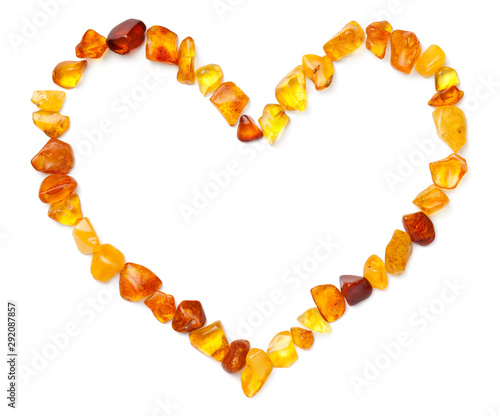Fotografie, Obraz Heart Shape Made Of Amber Isolated