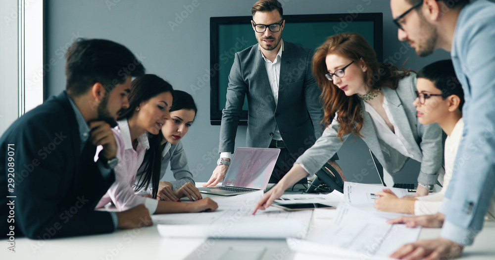 Fototapeta Business meeting in modern conference room