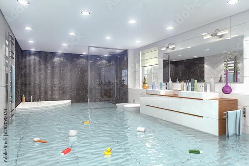 Überschwemmtes modernes Badezimmer - Bad - Dusche - Wasserschaden - Havarie - Ho Canvas Print