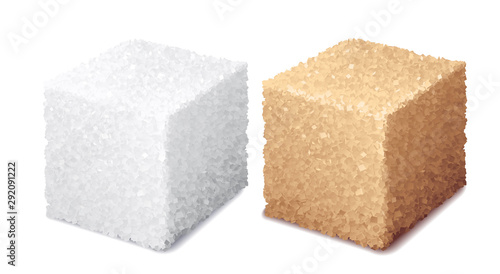 Obraz na plátně Vector realistic 3d white and brown sugar cubes isolated on white background