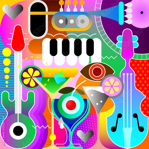 Printed kitchen splashbacks Abstract Art Musical Design