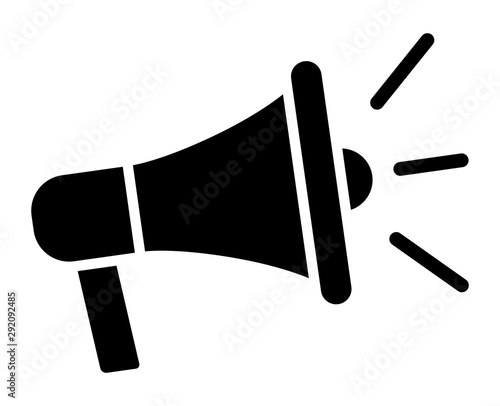 Tela Electric megaphone with sound or marketing advertising flat vector icon for apps