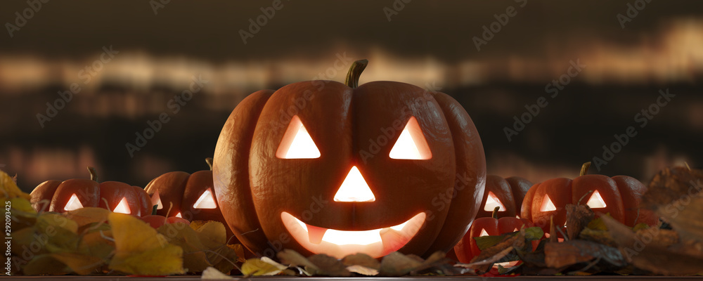 Fototapeta View of a Halloween night scene with lantern in pumpkin - 3d rendering