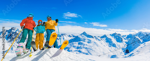 Fotomural Ski in winter season, mountains and ski touring equipments on the top in sunny day in France, Alps above the clouds