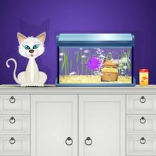 Cat Near The Fish Aquarium