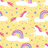 Cute unicorn horse seamless pattern with rainbow for children, kids, baby fashion apparel textile print vector illustration.