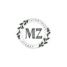 Initial Letter MZ Beauty Vector Handwriting Concept Logo