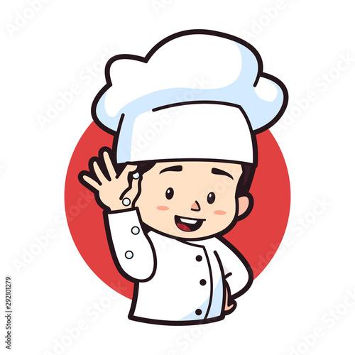 Photo  Cute chibi pouring secret ingredients, logo mascot illustration