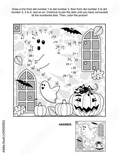 Photo  Connect the dots picture puzzle and coloring page - Halloween spooky ghost in a castle, pumpkins, bats, Jack-o-lantern