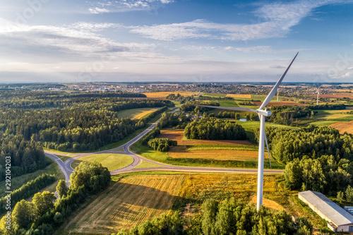 Obraz Wind power station. Aerial view. - fototapety do salonu