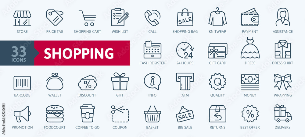Fototapeta Shopping malls, retail - outline web icon collection, vector, thin line icons collection