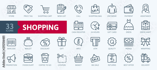 Fotografía Shopping malls, retail - outline web icon collection, vector, thin line icons co