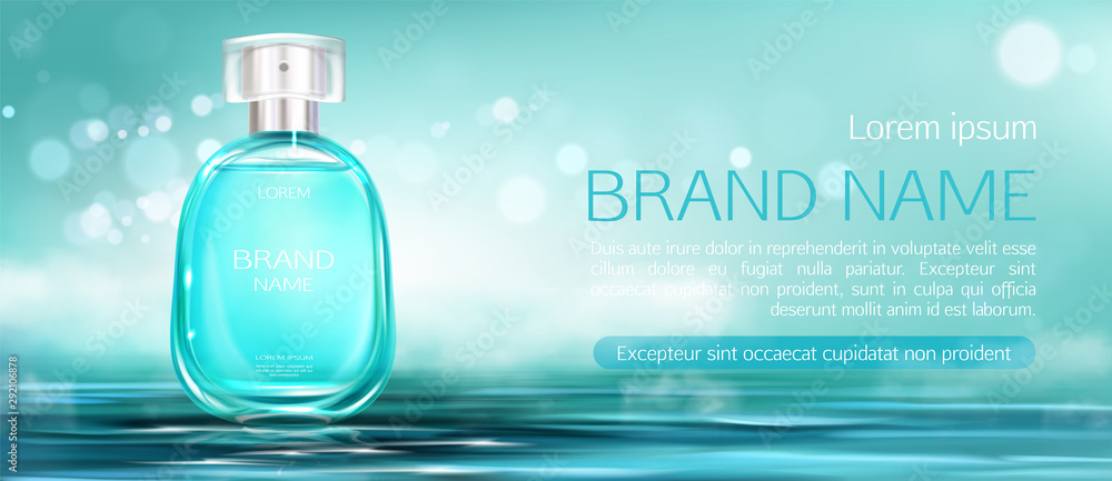 Fototapety, obrazy: Perfume spray bottle mock up banner. Glass flask packaging design mockup on water surface blurred background. Scent fragrance cosmetic beauty product, promo ad banner. Realistic 3d vector illustration