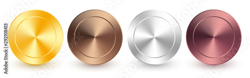 Fototapeta Collection of gold, rose gold, silver, chrome, bronze radial metallic gradient