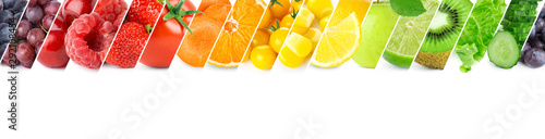 Poster Légumes frais Collage of color fruits and vegetables. Fresh ripe food