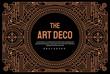 Art deco vintage linear thin line geometric shape retro design frame badge