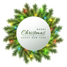 Festive Christmas And New Year Banner. Christmas Fir-tree Branches With Light Garland. Holiday's Background. Vector Illustration